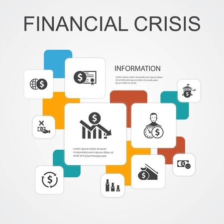financial crisis Infographic 10 line icons template. budget deficit, Bad loans, Government debt, Refinancing simple icons Ilustrace