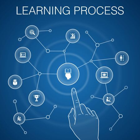 learning process concept, blue background.research, motivation, education, achievement icons