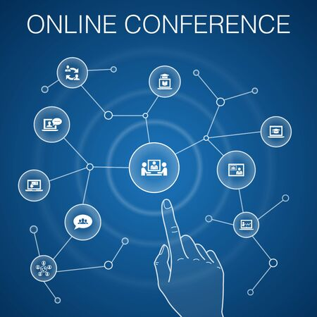 online conference concept, blue background.group chat, online learning, webinar, conference call icons