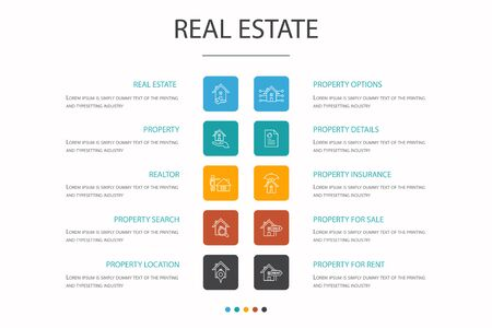 Real Estate Infographic 10 option concept. Property, Realtor, location, Property for sale simple icons  イラスト・ベクター素材