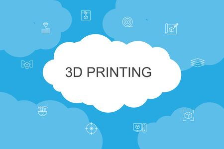 3d printing Infographic cloud design template.3d printer, filament, prototyping, model preparation simple icons