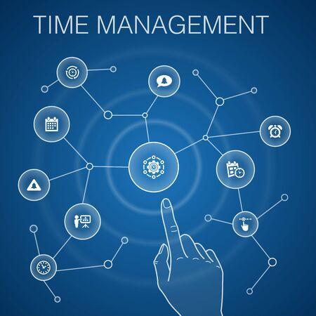 Time Management concept, blue background.efficiency, reminder, calendar, icons