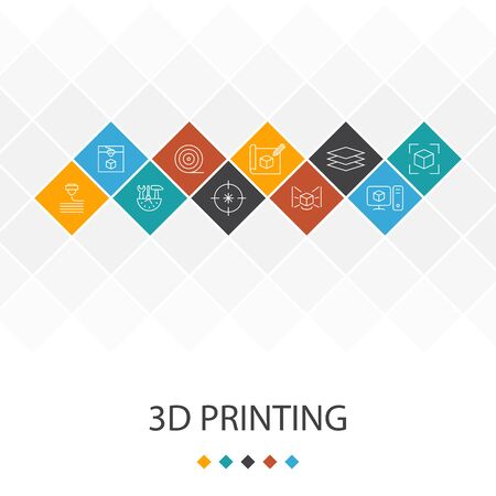 3d printing trendy UI template infographics concept. printer, filament, prototyping, model preparation icons
