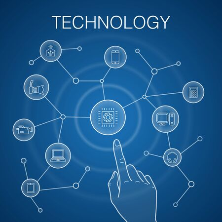 Technology concept, blue background. smart home, photo camera, tablet computer, smartphone icons