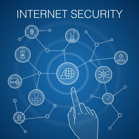 Internet Security concept, blue background. cyber security, fingerprint scanner, data encryption, password icons