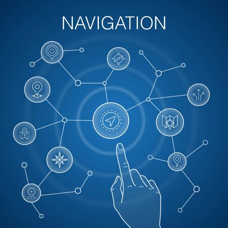 Navigation concept, blue background. location, map, gps, direction icons  イラスト・ベクター素材