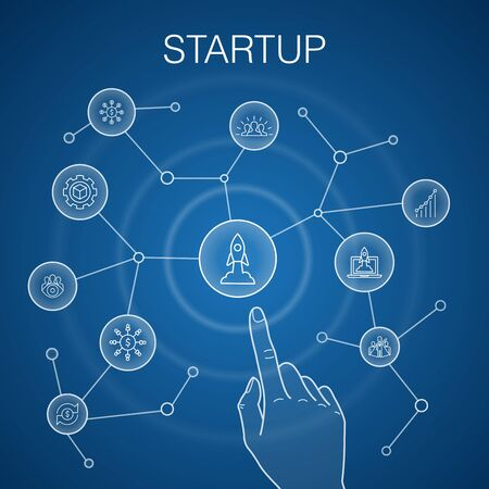 Startup concept, blue background. Crowdfunding, Business Launch, Motivation, Product development icons