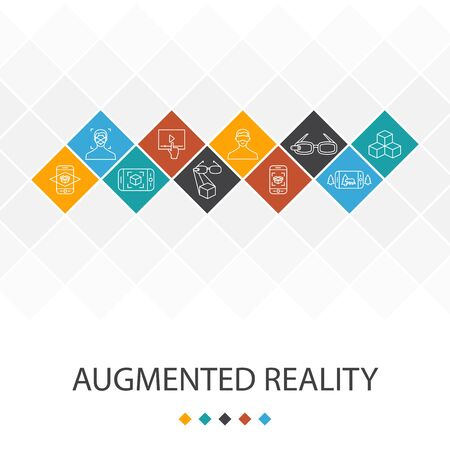 Augmented reality trendy UI template infographics concept. Facial Recognition, AR app, AR game, Virtual Reality icons 向量圖像