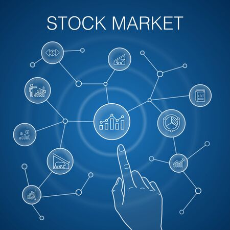 Stock market concept, blue background. Broker, finance, graph, market share icons 向量圖像