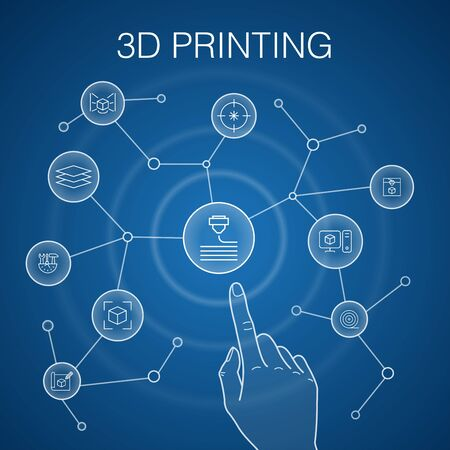 3d printing concept, blue background. printer, filament, prototyping, model preparation icons