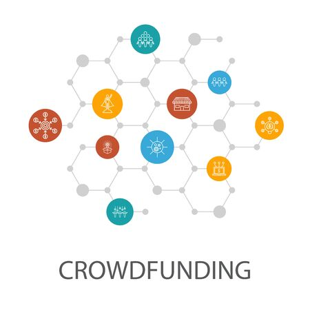 Crowdfunding presentation template, cover layout and infographics. startup, product launch, funding platform, community icons Ilustração