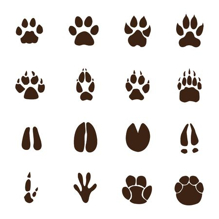 Animals footprints isolated on white background illustration Illustration