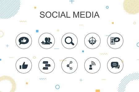 social media trendy Infographic template. Thin line design with like, share, follow, comments icons