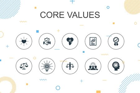 Core values trendy Infographic template. Thin line design with trust, honesty, ethics, integrity icons  イラスト・ベクター素材