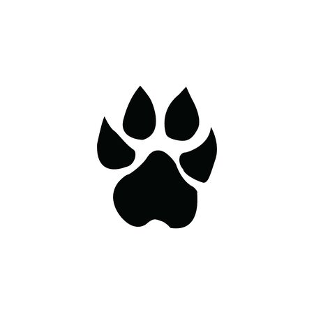 black lion footprint on white background template illustration  イラスト・ベクター素材