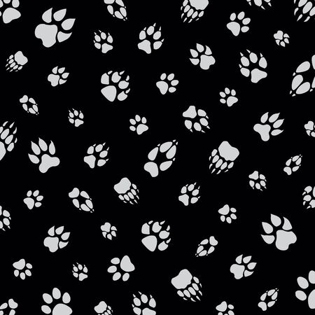 animal footprint pattern black background illustration pattern