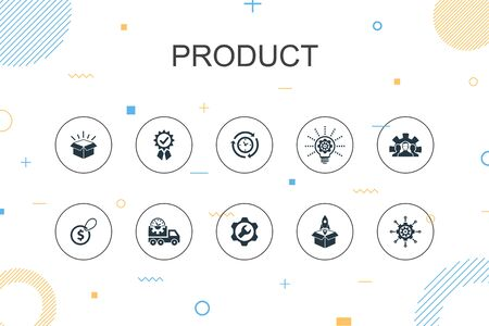 product trendy Infographic template. Thin line design with price, quality, delivery, development icons Ilustrace
