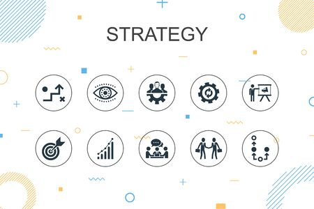 Strategy trendy Infographic template. Thin line design with goal, growth, process, teamwork icons