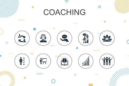 coaching trendy Infographic template. Thin line design with support, mentor, skills, training icons Ilustrace