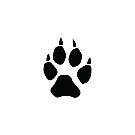 wolf footprint on white background illustration pattern