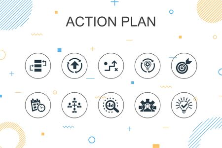 action plan trendy Infographic template. Thin line design with improvement, strategy, implementation, analysis icons