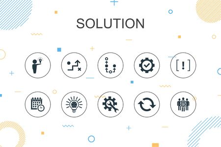 Solution trendy Infographic template. Thin line design with strategy, plan, execution, timetable icons