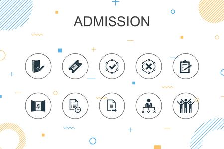 Admission trendy Infographic template. Thin line design with Ticket, accepted, Open Enrollment, Application icons