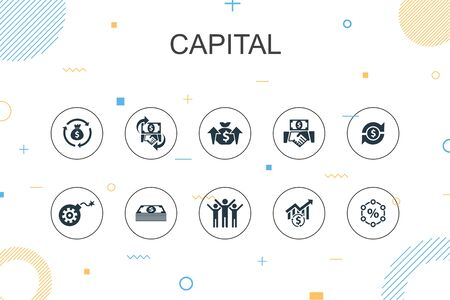capital trendy Infographic template. Thin line design with dividends, money, investment, success icons