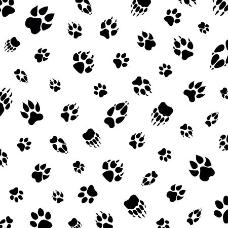animal footprint on white background template pattern