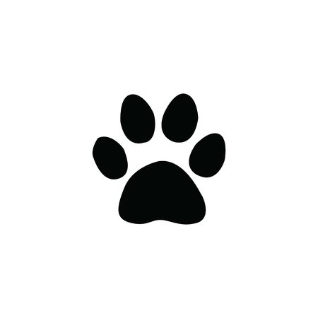 black jaguar footprint on white background template illustration  イラスト・ベクター素材