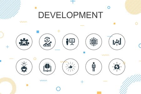 Development trendy Infographic template. Thin line design with global solution, knowledge, investor, Brainstorming icons
