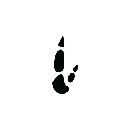 black kangaroo footprint on white background template