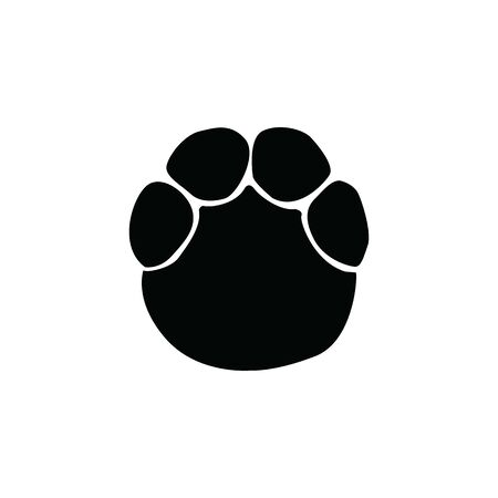 black elephant footprint on white background template