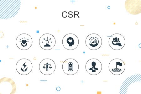 CSR trendy Infographic template. Thin line design with responsibility, sustainability, ethics, goal icons