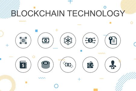 blockchain technology trendy Infographic template. Thin line design with cryptocurrency, digital currency, smart contract, transaction icons Illustration