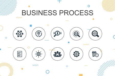 Business process trendy Infographic template. Thin line design with implement, analyze, development, Processing icons Ilustração