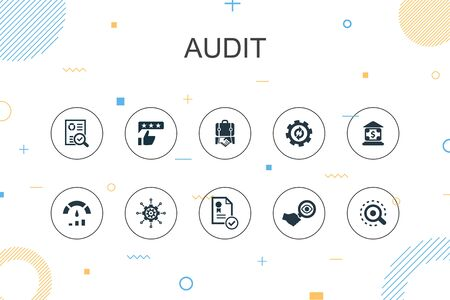 audit trendy Infographic template. Thin line design with review, standard, examine, process icons Ilustração
