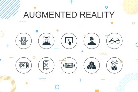 Augmented reality trendy Infographic template. Thin line design with Facial Recognition, AR app, AR game, Virtual Reality icons