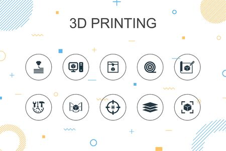 3d printing trendy Infographic template. Thin line design with 3d printer, filament, prototyping, model preparation icons