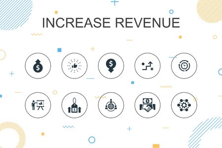 increase revenue trendy Infographic template. Thin line design with Raise prices, reduce expenses, best practices, strategy icons Ilustração