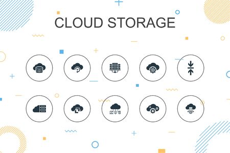 Cloud storage trendy Infographic template. Thin line design with Cloud Backup, data center, Hybrid Storage, Data Compression icons