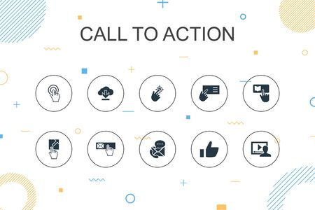 Call To Action trendy Infographic template. Thin line design with download, click here, subscribe, contact us icons Ilustração