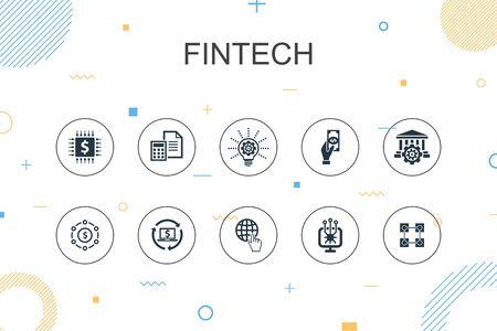 fintech trendy Infographic template. Thin line design with finance, technology, blockchain, innovation icons Ilustração