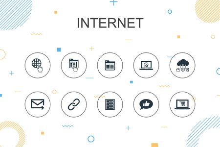 internet trendy Infographic template. Thin line design with ecommerce, social media, website, Email icons