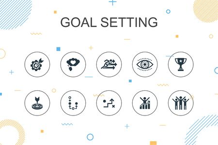 goal setting trendy Infographic template. Thin line design with dream big, action, vision, strategy icons