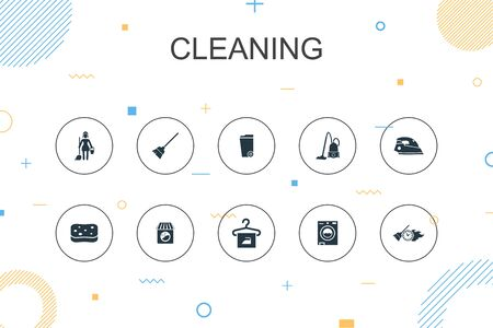 Cleaning trendy Infographic template. Thin line design with broom, trash can, sponge, dry cleaning icons