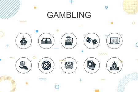 gambling trendy Infographic template. Thin line design with roulette, casino, money, online casino icons