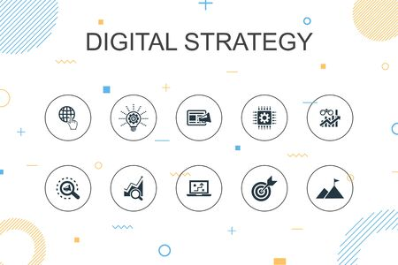 digital strategy trendy Infographic template. Thin line design with internet, SEO, content marketing, mission icons