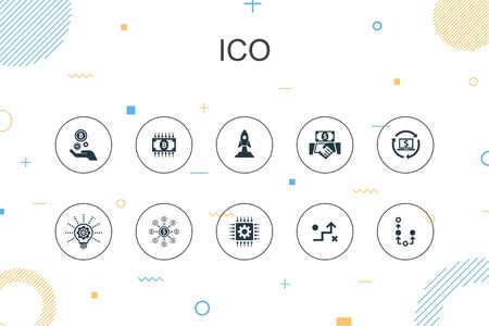 ICO trendy Infographic template. Thin line design with cryptocurrency, startup, digital economy, technology icons