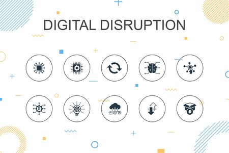 digital disruption trendy Infographic template. Thin line design with technology, innovation, IOT, digitization icons icons